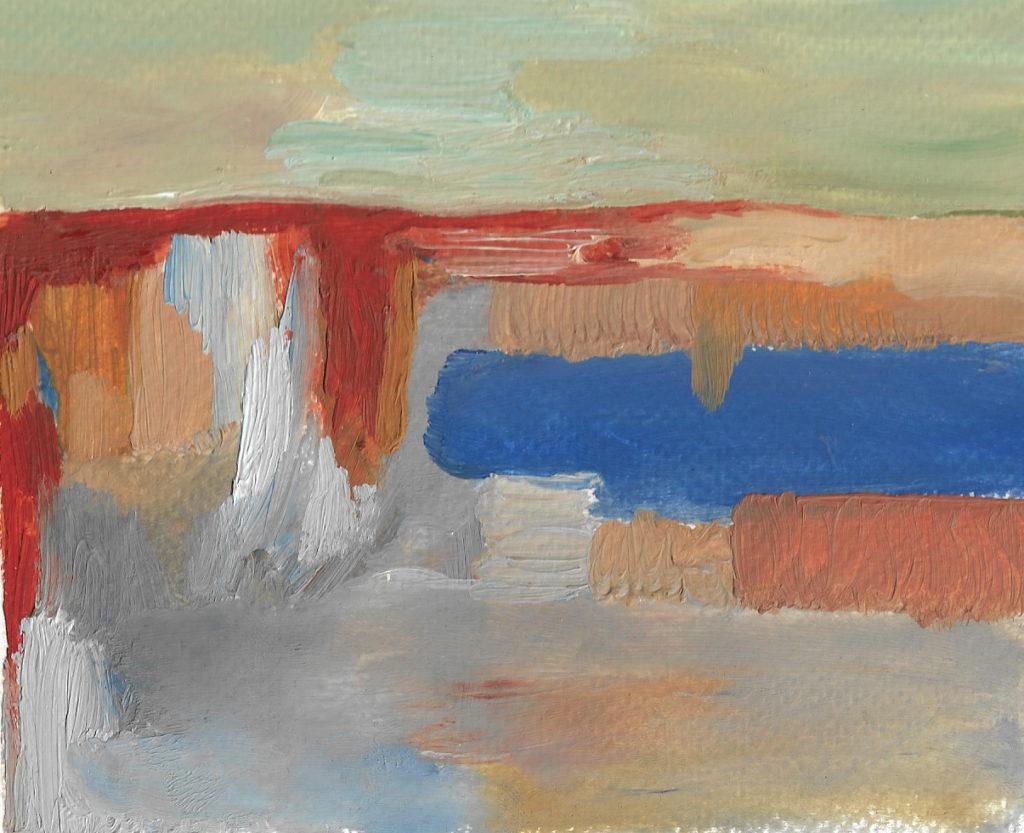 Horizon, 2019, Huile sur papier 13 x 14 cm