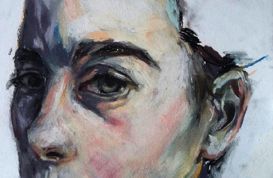 Autoportrait, 2019, pastel sur papier, 14.8 x 20.5 cm